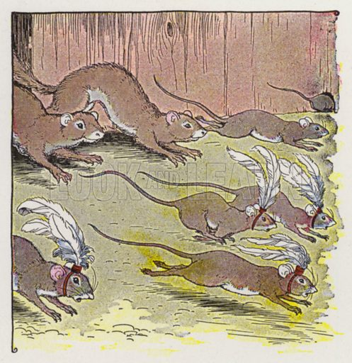 The Mice and the Weasels. Illustration for The Aesop for Children with pictures by Milo Winter (Rand McNally, 1919).