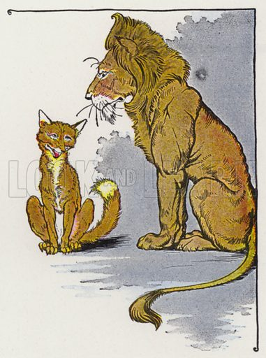 The Fox and the Lion. Illustration for The Aesop for Children with pictures by Milo Winter (Rand McNally, 1919).