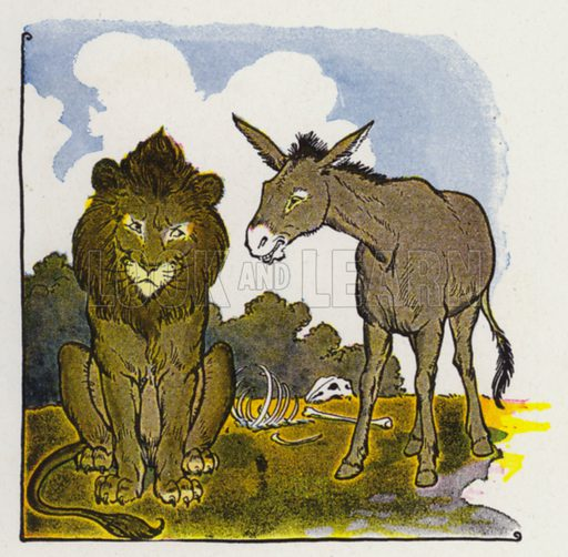 The Lion and the Ass. Illustration for The Aesop for Children with pictures by Milo Winter (Rand McNally, 1919).