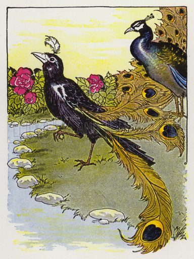The Vain Jackdaw and His Borrowed Feathers. Illustration for The Aesop for Children with pictures by Milo Winter (Rand McNally, 1919).