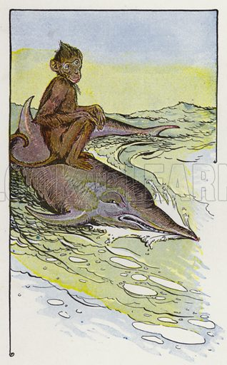 The Monkey and the Dolphin. Illustration for The Aesop for Children with pictures by Milo Winter (Rand McNally, 1919).