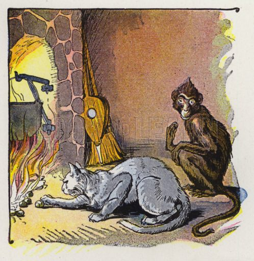 The Monkey and the Cat. Illustration for The Aesop for Children with pictures by Milo Winter (Rand McNally, 1919).