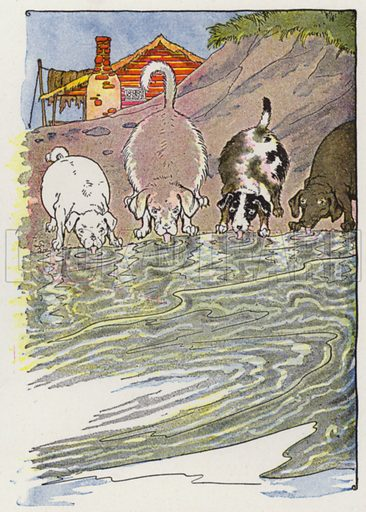 The Dogs and the Hides. Illustration for The Aesop for Children with pictures by Milo Winter (Rand McNally, 1919).