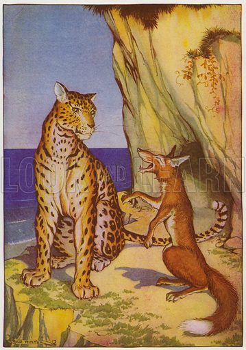 The Fox and the Leopard. Illustration for The Aesop for Children with pictures by Milo Winter (Rand McNally, 1919).
