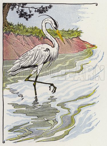 The Heron. Illustration for The Aesop for Children with pictures by Milo Winter (Rand McNally, 1919).