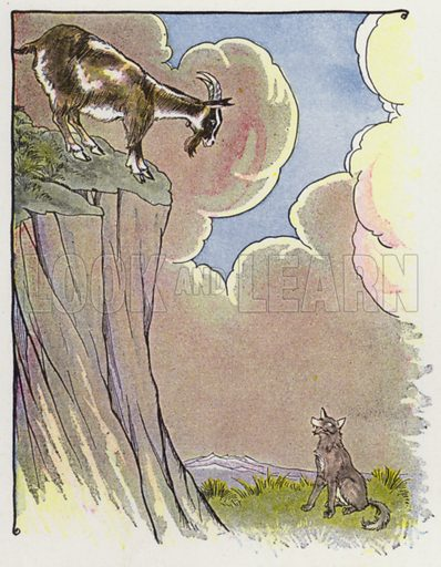 The Wolf and the Goat. Illustration for The Aesop for Children with pictures by Milo Winter (Rand McNally, 1919).