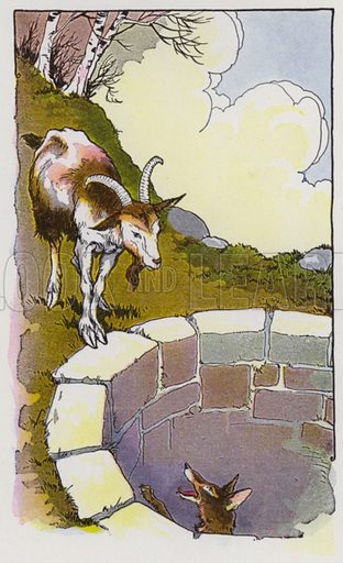 The Fox and the Goat. Illustration for The Aesop for Children with pictures by Milo Winter (Rand McNally, 1919).
