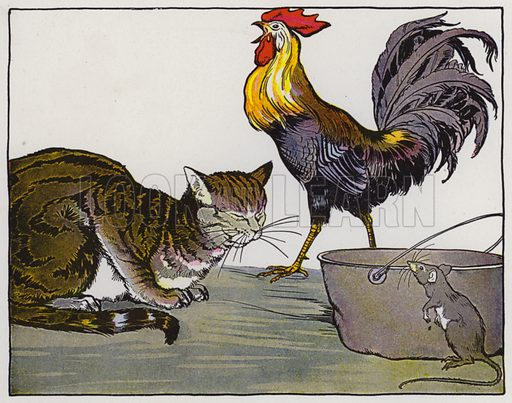 The Cat, the Cock, and the Young Mouse. Illustration for The Aesop for Children with pictures by Milo Winter (Rand McNally, 1919).