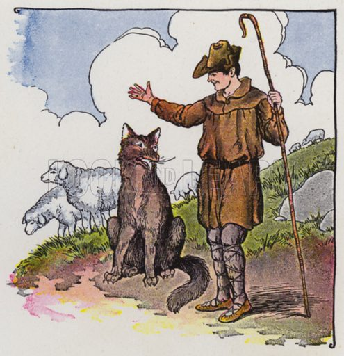 The Wolf and the Shepherd. Illustration for The Aesop for Children with pictures by Milo Winter (Rand McNally, 1919).