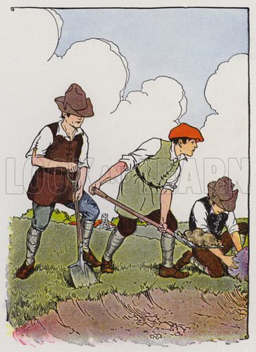 The Farmer and His Sons. Illustration for The Aesop for Children with pictures by Milo Winter (Rand McNally, 1919).
