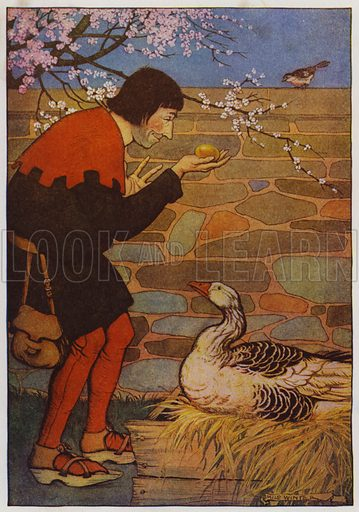 The Goose and the Golden Egg. Illustration for The Aesop for Children with pictures by Milo Winter (Rand McNally, 1919).