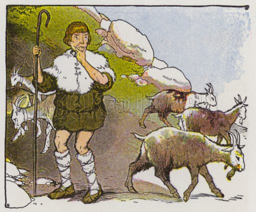 The Goatherd and the Wild Goats. Illustration for The Aesop for Children with pictures by Milo Winter (Rand McNally, 1919).