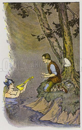 Mercury and the Woodman. Illustration for The Aesop for Children with pictures by Milo Winter (Rand McNally, 1919).