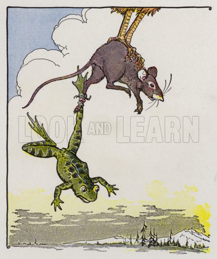 The Frog and the Mouse. Illustration for The Aesop for Children with pictures by Milo Winter (Rand McNally, 1919).
