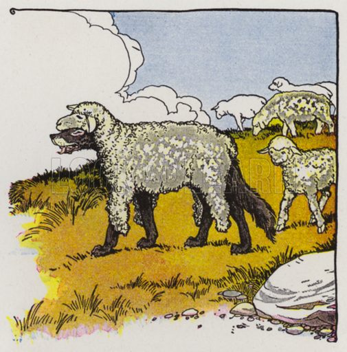 The Wolf in Sheep's Clothing. Illustration for The Aesop for Children with pictures by Milo Winter (Rand McNally, 1919).