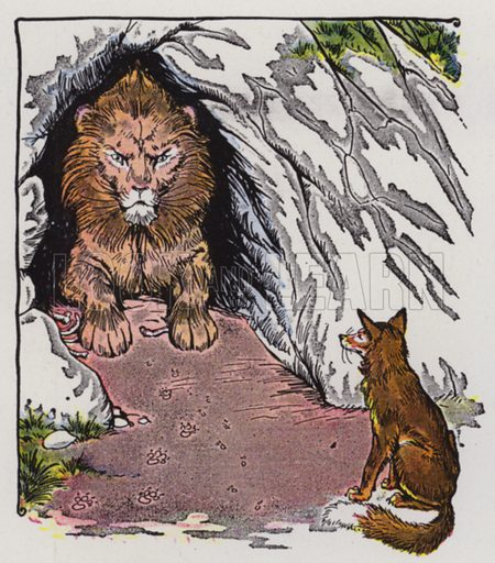 The Old Lion and the Fox. Illustration for The Aesop for Children with pictures by Milo Winter (Rand McNally, 1919).