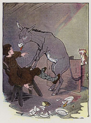 The Ass and the Lap Dog. Illustration for The Aesop for Children with pictures by Milo Winter (Rand McNally, 1919).