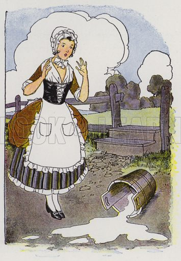 The Milkmaid and Her Pail. Illustration for The Aesop for Children with pictures by Milo Winter (Rand McNally, 1919).