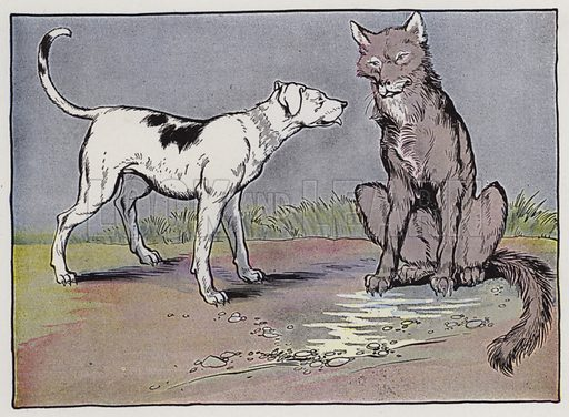 The Wolf and the House Dog. Illustration for The Aesop for Children with pictures by Milo Winter (Rand McNally, 1919).