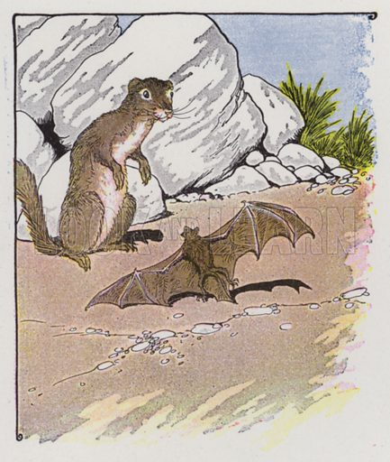 The Bat and the Weasels. Illustration for The Aesop for Children with pictures by Milo Winter (Rand McNally, 1919).