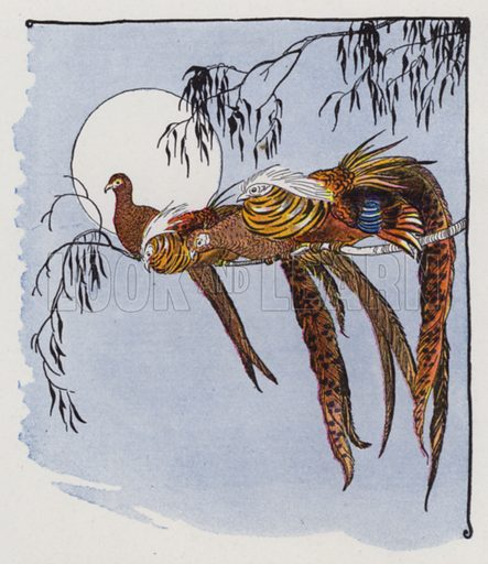 The Fox and the Pheasants. Illustration for The Aesop for Children with pictures by Milo Winter (Rand McNally, 1919).