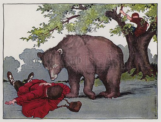 Two Travelers and a Bear. Illustration for The Aesop for Children with pictures by Milo Winter (Rand McNally, 1919).