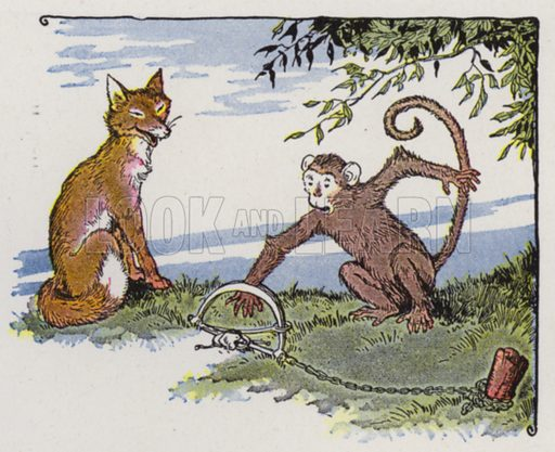 The Fox and the Monkey. Illustration for The Aesop for Children with pictures by Milo Winter (Rand McNally, 1919).