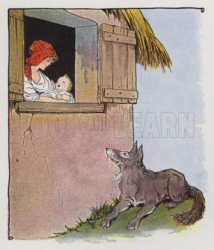 The Mother and the Wolf. Illustration for The Aesop for Children with pictures by Milo Winter (Rand McNally, 1919).