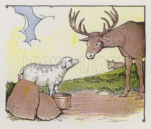 The Stag, the Sheep, and the Wolf. Illustration for The Aesop for Children with pictures by Milo Winter (Rand McNally, 1919).