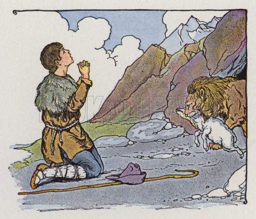 The Shepherd and the Lion. Illustration for The Aesop for Children with pictures by Milo Winter (Rand McNally, 1919).
