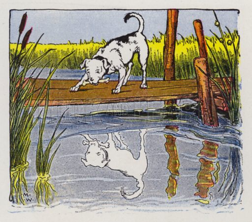 The Dog and His Reflection. Illustration for The Aesop for Children with pictures by Milo Winter (Rand McNally, 1919).
