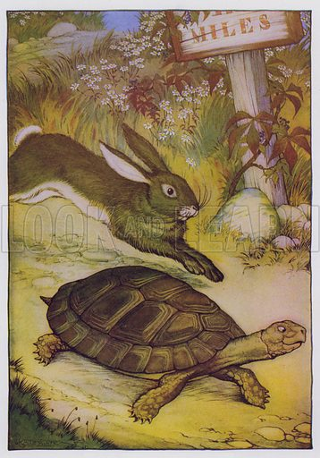 The Hare and the Tortoise. Illustration for The Aesop for Children with pictures by Milo Winter (Rand McNally, 1919).