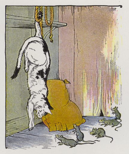 The Cat and the Old Rat. Illustration for The Aesop for Children with pictures by Milo Winter (Rand McNally, 1919).