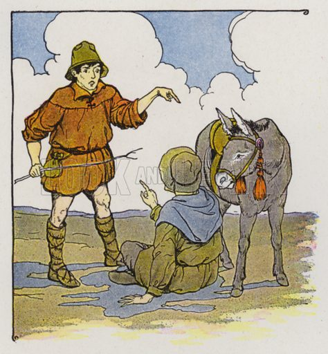 The Ass and Its Shadow. Illustration for The Aesop for Children with pictures by Milo Winter (Rand McNally, 1919).