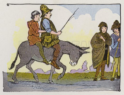 The Miller, His Son, and the Ass. Illustration for The Aesop for Children with pictures by Milo Winter (Rand McNally, 1919).