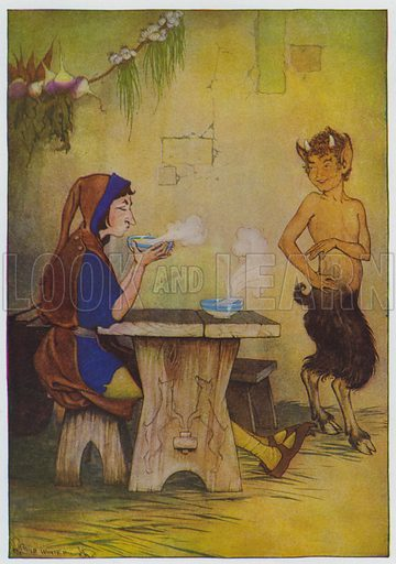 The Man and the Satyr. Illustration for The Aesop for Children with pictures by Milo Winter (Rand McNally, 1919).