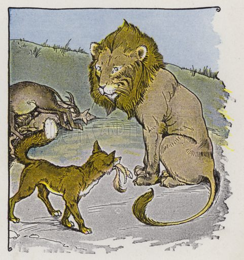 The Lion, the Ass, and the Fox. Illustration for The Aesop for Children with pictures by Milo Winter (Rand McNally, 1919).