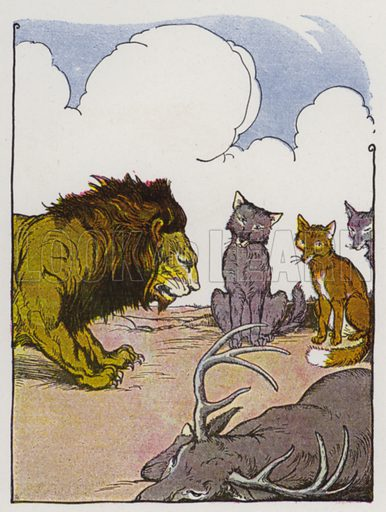The Lion's Share. Illustration for The Aesop for Children with pictures by Milo Winter (Rand McNally, 1919).