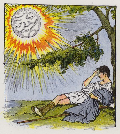 The North Wind and the Sun. Illustration for The Aesop for Children with pictures by Milo Winter (Rand McNally, 1919).