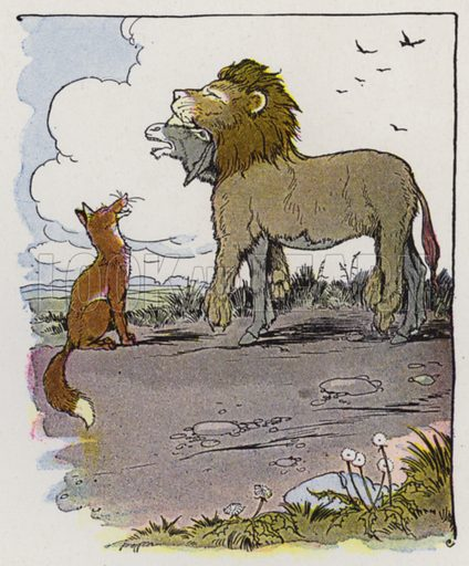 The Ass in the Lion's Skin. Illustration for The Aesop for Children with pictures by Milo Winter (Rand McNally, 1919).