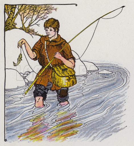 The Fisherman and the Little Fish. Illustration for The Aesop for Children with pictures by Milo Winter (Rand McNally, 1919).