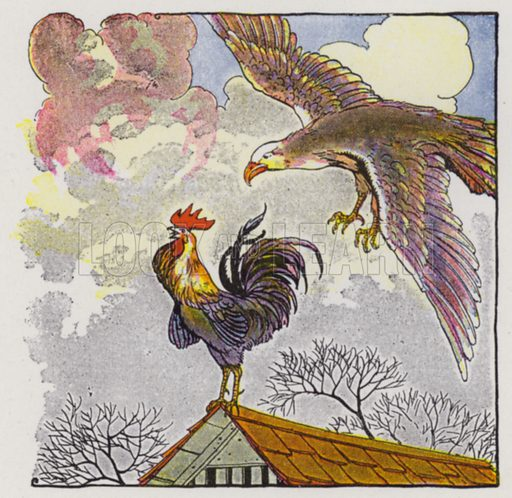 The Fighting Cocks and the Eagle. Illustration for The Aesop for Children with pictures by Milo Winter (Rand McNally, 1919).