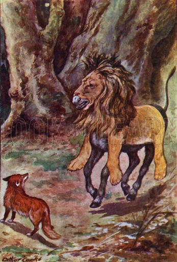 The Ass in the Lion's skin. Illustration for Aesop's Fables (Ward Lock, c 1917).