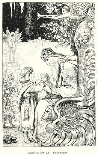 King Elyon and Paedarion. Illustration for Allegories by Frederic W Farrar with illustrations by Amelia Bauerle (Longmans Green, 1898).
