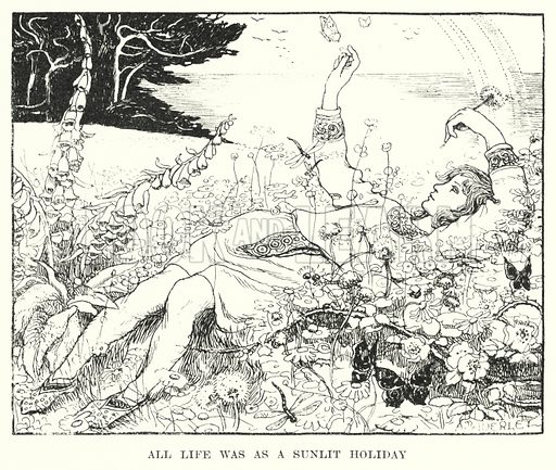 All life was as a sunlit holiday. Illustration for Allegories by Frederic W Farrar with illustrations by Amelia Bauerle (Longmans Green, 1898).