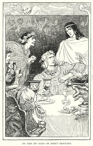He laid his hand on Aner's shoulder. Illustration for Allegories by Frederic W Farrar with illustrations by Amelia Bauerle (Longmans Green, 1898).