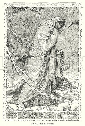 Akedia glided forth. Illustration for Allegories by Frederic W Farrar with illustrations by Amelia Bauerle (Longmans Green, 1898).