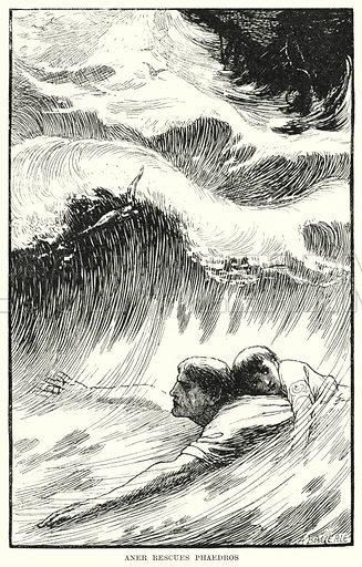 Aner rescues Phaedros. Illustration for Allegories by Frederic W Farrar with illustrations by Amelia Bauerle (Longmans Green, 1898).