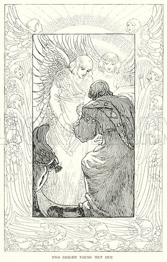 Two bright forms met him. Illustration for Allegories by Frederic W Farrar with illustrations by Amelia Bauerle (Longmans Green, 1898).