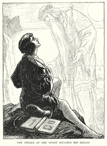 The finger of the spirit touched his breast. Illustration for Allegories by Frederic W Farrar with illustrations by Amelia Bauerle (Longmans Green, 1898).